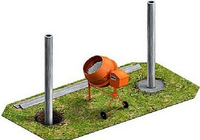 Калькулятор розрахунку кількості бетону для установки металевих стовпів для паркану